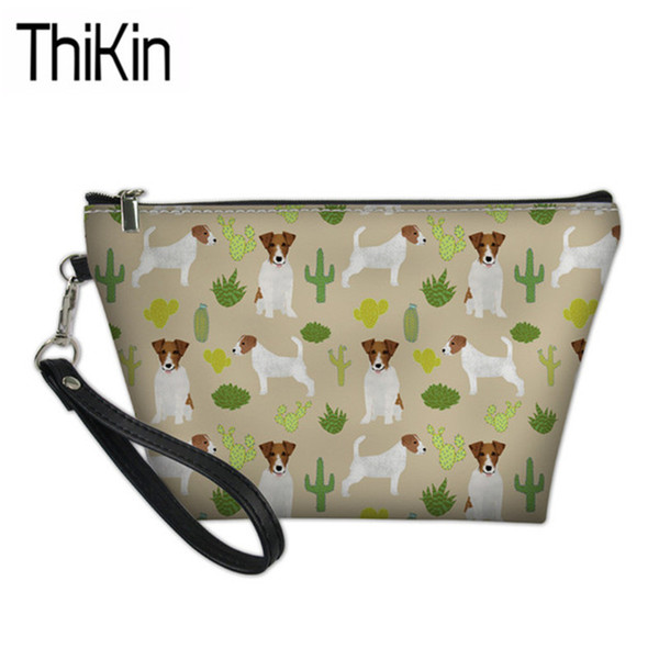 THIKIN Women's Cosmetic Cases Jack Russell Terrier Printing Make Up Bags Ladies Portable Wash Kit Bags for Females Make Up Box