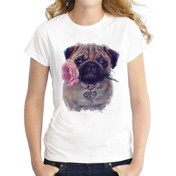 Dog t shirt Rose pug short sleeve tees Cute animal gown Casual fadeless printing clothing Pure color colorfast modal Tshirt