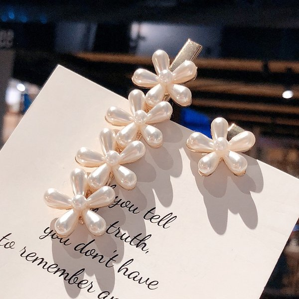Korea Fashion Imitation Pearl Hair Clip Elegant Barrettes for Women Girls Handmade Pearl Flowers Hairpins Hair Accessories Pin