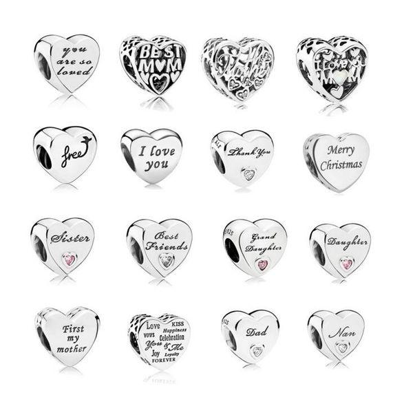 new free shipping european 1pc 925 silver heart i love you nan mom sister dad diy bead fit pandora charm bracelet B11