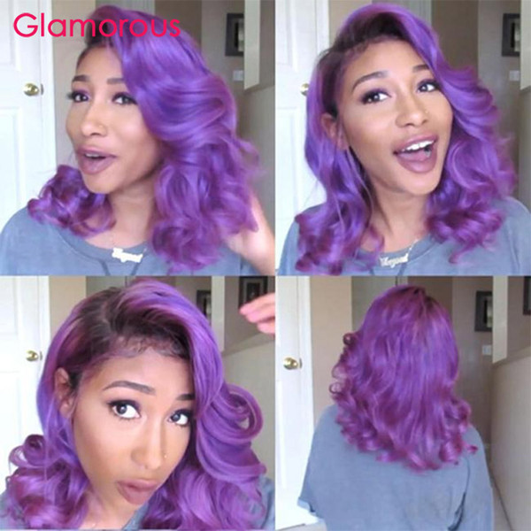 Purple Wig Fashion Cut Bob Lace Wig Colored Lace Front Human Hair Wigs Short Bob Wigs For Women