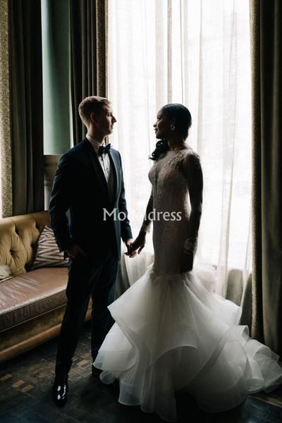 Arabric Mermaid Lace Wedding Dresses Sheer Neck Long Sleeves Illusion Black Girls Bridal Gowns Sweep Train Charming robes de mariée sirène