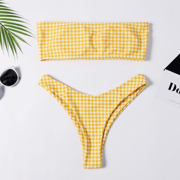 Casual fashion plaid print strapless wrapped chest bikini beachwear women monokini swimsuit strapless stroje kapielowe damskie#3