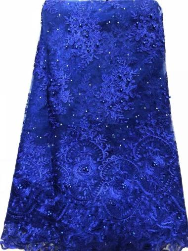 best selling Hot african lace fabric with stones 2019 hot fabric high quality tulle beaded lace fabric for evening dresses ELL3640 Royal blue