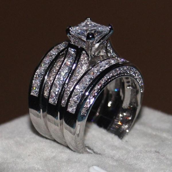 Роскошные квадратные Имитация Бриллиантовые Обручальные Кольца набор Медное Покрытие Платиновое Кольцо Свадебные Украшения для женщин