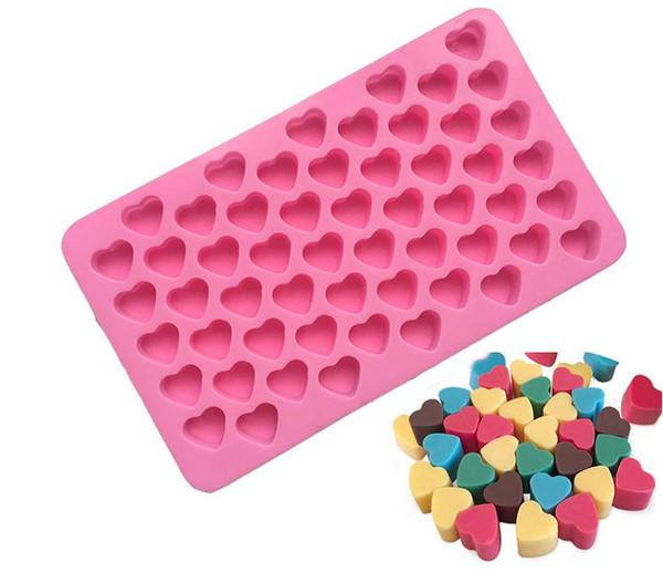 Silikon çikolata kalıpları kalp şekli 55 delik silikon kek kalıbı silikon buz tepsisi jöle kalıpları sabun kalıp kek bakeware araçları SN3195