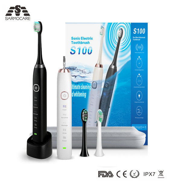 best selling Sarmocare s100 electric Toothbrush IPX7 waterproof grade 5 models including 2 heads with wireless charging Smart sonic Toothbrush