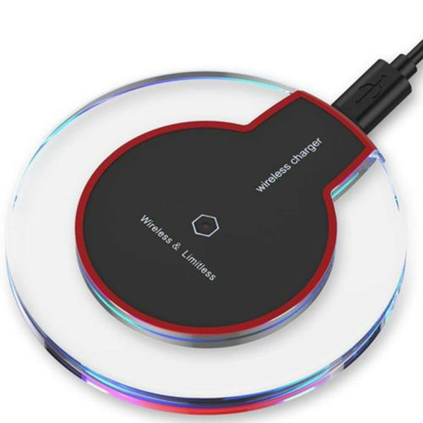 best selling 2020 Ultra-Thin Universal QI Wireless fast Charger New Ultra-Thin Crystal clear charge K9 5W Charger pad base Wireless For Mobile Phones