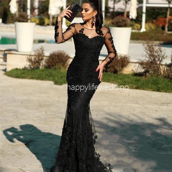 Boncuk Abiye Uzun Kollu Illusion Robe De Soiree 2020 Mermaid Suudi Arapça Glitter İslam Partisi Balo Abiye