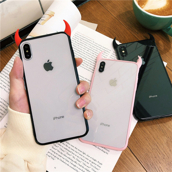 Cool Devil Horn Transparent Acrylic Soft shell Case For iPhone XS MAX XR X 6 6S 7 8 Plus Protector Phone Cases For XS MAX