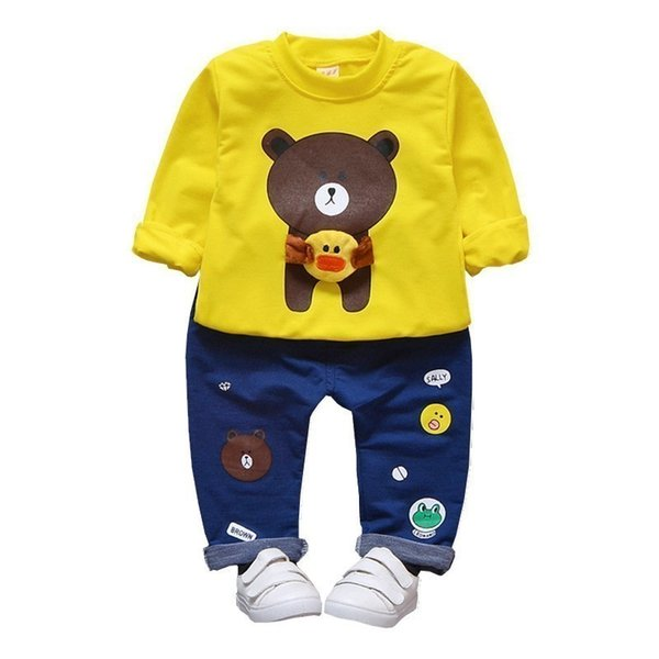 2019 Spring Boys Clothing Set Autumn Style Cotton O-Neck Full With Bear Print Baby Clothes Long Sleeve T-shirt Pants 2pcs Suits