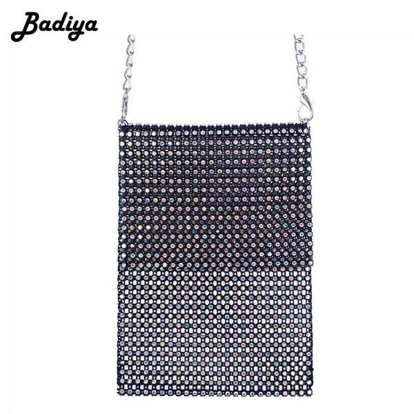 luxury women crossbody bag nylon solid diamond crystal brand new chic design shoulder bag phone lady sling