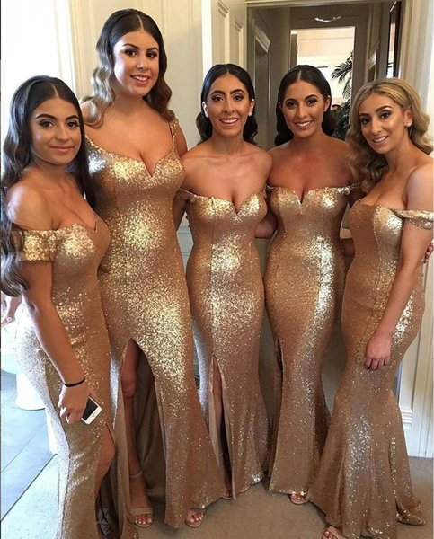 2019 Long Bridesmaid Dresses Off The Shoulder Sleeveless Floor Length Sequined Fabric Side Slit Cocktail Maid Of Honor Wedding Guest Dress