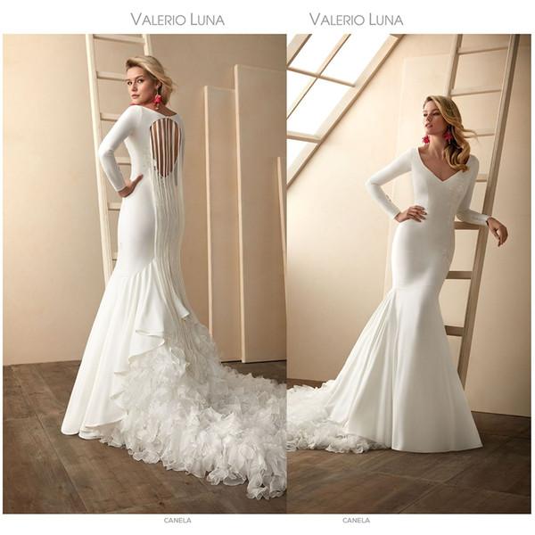 Elegante Valerio Luna Mermaid Brautkleider V-Ausschnitt Langarm Hohle SpitzeApplique Pailletten Rüschen Brautkleid Sweep Zug robe de mariée