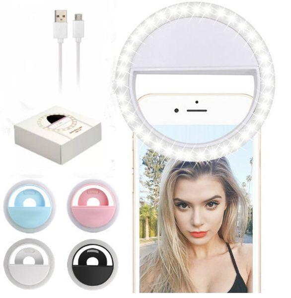 2019 1pc Portable Rechargable 36pcs LED Selfie Ring light for Iphone Samsung Universal Light 3 levels rightness Camera light for LG Huawei