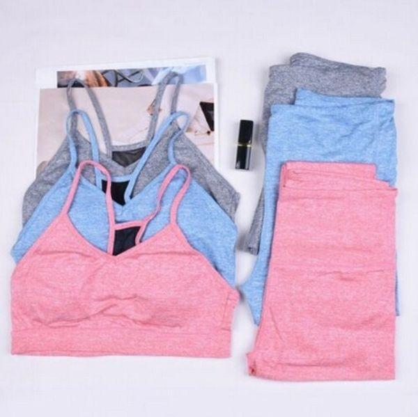 Zwei Stücke Breathable Frauen Sport Gym Yoga Weste BH + Hohe Taille Sport Legging Hosen Elastische Hose Outfit Sprotwear Set # 655654