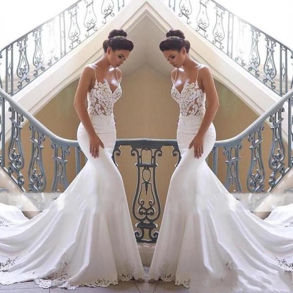 2019 новые роскошные свадебные платья русалка спагетти кружевные аппликации атласная без рукавов придворной шлейф сексуальные открытые спины арабские вечерние свадебные платья