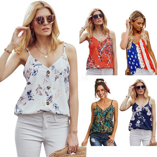 Women Button V neck Floral Tank sleeveless Sparkly Party Tops Shirt Fashion USA Flag Summer shining sexy Night club Vest LJJA2629