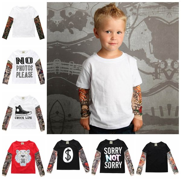 INS Boy Clothes Tattoo Long Sleeve Toddler T Shirts Cotton Kids Girls Shirts Novelty Baby Clothing 16 Designs DW4687