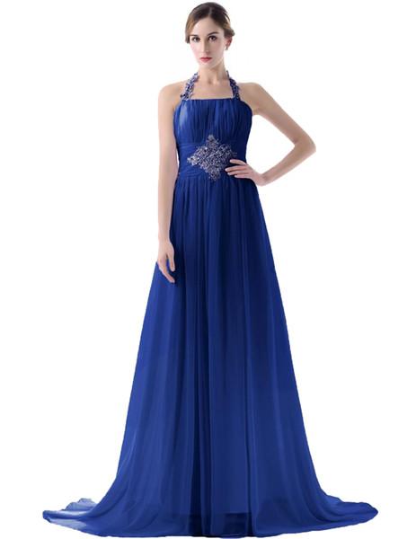 2019 вечернее платье невесты дешевые трапеция Холтер спинки оборками кружева up длиной до пола на заказ лаванда невесты Платья