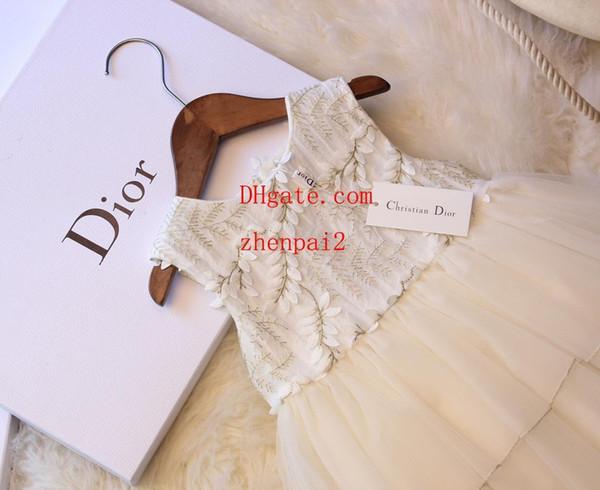 Kids clothes Baby girl dresses Leaf embroidery Mesh tutu girl wedding dresses girls Open back skirt princess prom Dress