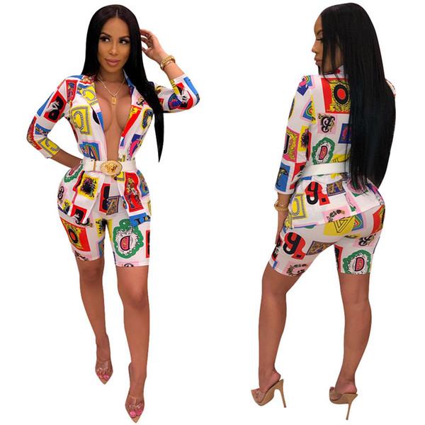 Kadın Blazer Takım Rahat Mektup Paisley Baskı Açık Dikişli 3/4 Kollu Blazer Üst Kat ve Şort 2 Parça Kıyafet Tasarımcısı Eşofman C61704