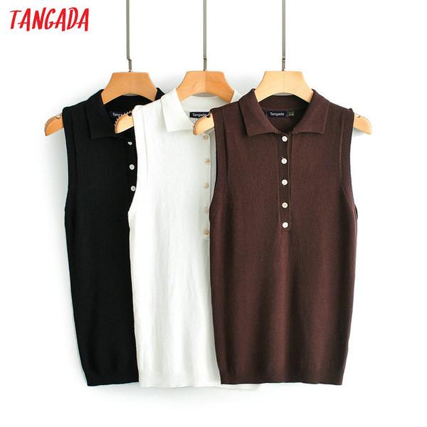 Tangada femmes élégantes boutons de chemisier en tricot solide descendre col sans manches dames de bureau chic chemise de travail porter des vêtements féminines JN249