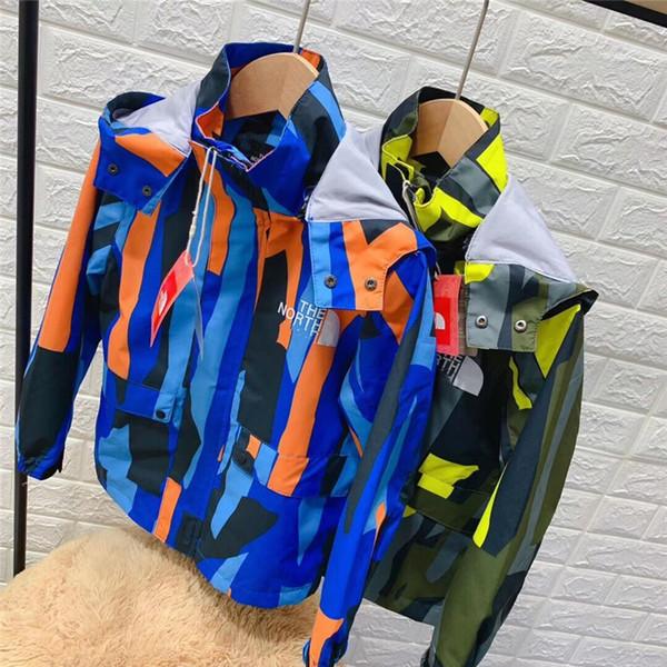Le Nord Enfants Designer Veste Garçon Fille Automne Camo Patchwork Coupe-Vent À Capuche Manteaux Face Enfants Juniors Vêtements D'extérieur Marque NF Tops B82804