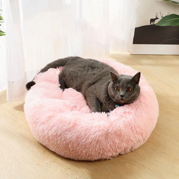 Lit pour chien en peluche longue Super Soft Pet Bed Kennel Round Kennel Dog House Cat hiver chaud Sac de couchage chiot Coussin Fournitures Mat