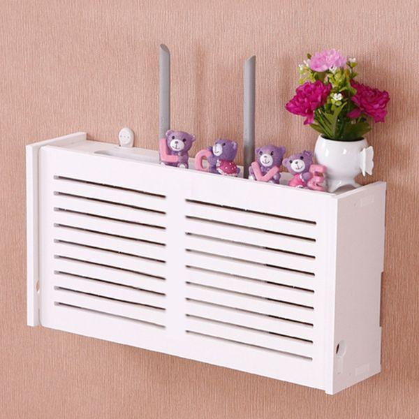 yazi Wifi Router Storage Box Wood-Plastic Shelf Wall Hangings Bracket Cable Organizer M L 2