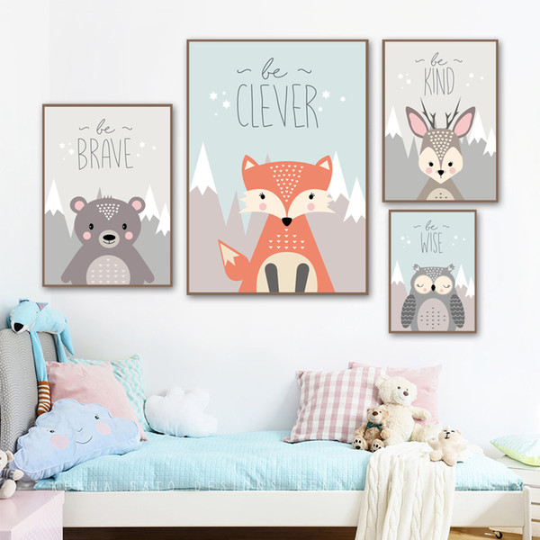 2019 Cartoon Bear Deer Owl Quotes Wall Art Canvas Painting Nordic Posters And Prints Animal Wall Kids Room Bedroom Decor From Windomfac