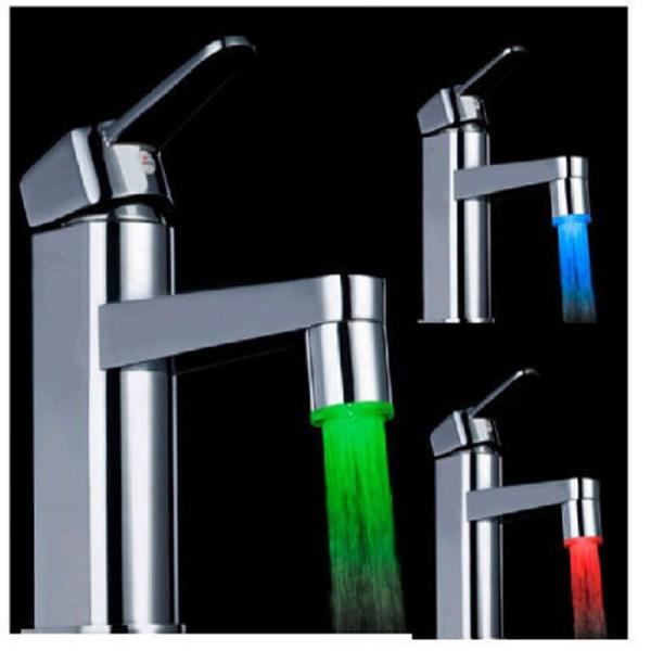 Moda de luz LED de agua corriente del grifo Luz 3 colores que cambian de temperatura Glow grifo de ducha Jefe de cocina del sensor de temperatura