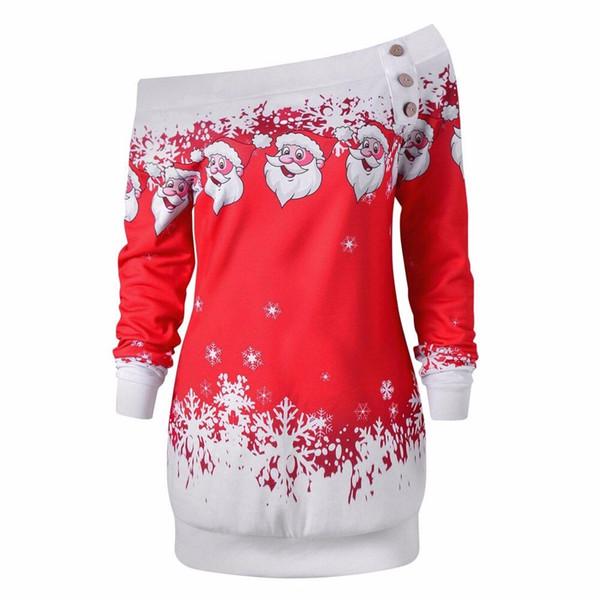 Womens Ladies Christmas Cold Shoulder Long Sleeve Santa Tops Blouse T Shirts HH