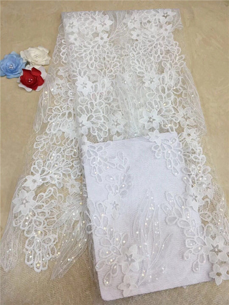 Blush Pink Lace Fabric 2018 Gorgeous Nigerian Lace Fabric, Sequins Flower French Net Lace, High Quality Swiss Lace Fabric White