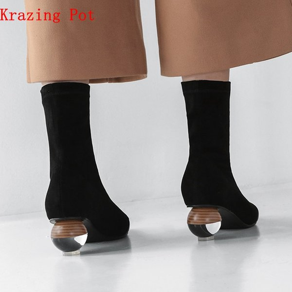 Krazing Pot 2019 cow leather art designer velvet shoes pointed toe stretch boots crystal strange heels luxury boots L82