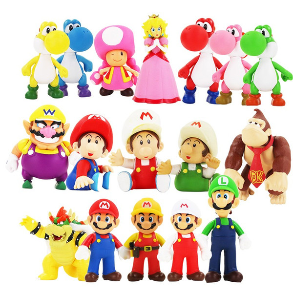Classic Game Super Mario Bros Figure Toys Luigi Yoshi Toad Bowser Koopa Cartoon PVC Figure Model Collection Toys Gifts For Kids