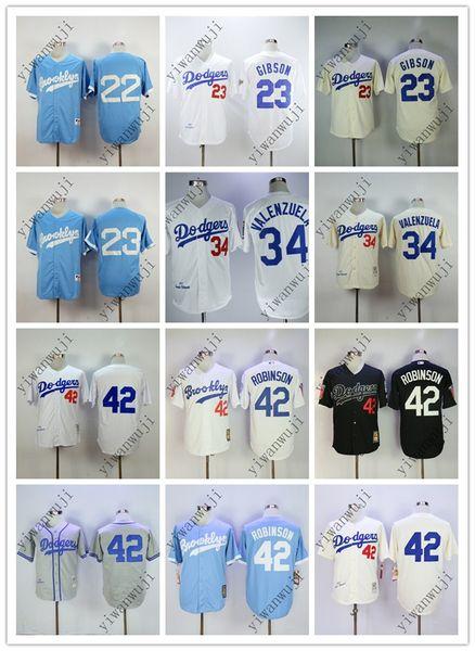 DODGERS baratos 22 # KERSHAW / 23 # GIBSON / 34 # VALENZUELA / 42 # ROBINSO Crema / Blanco Gris Claro Azul Negro Camisetas de béisbol Camiseta cosida de calidad superior