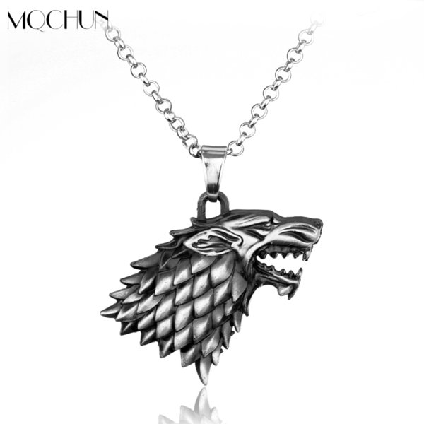 10pcs Fashion Cool 3d Wolf Head Stark Crest Pendant Alloy Jewelry Game Of Throne Necklace For Men Christmas Collar Souvenir C19041203