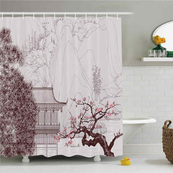 Asian Shower Curtain, Chinese Religion Building Sakura Trees and Mountain Forms Pagoda Eastern Art Print