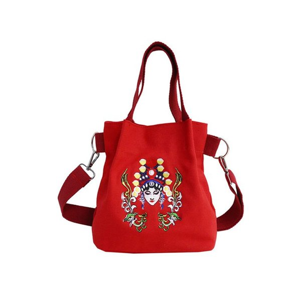 Chinese Style Package Peking Opera Pattern Small Handbag 100% Cotton Embroidery Messenger Bag for Women Cute Vintage Bag