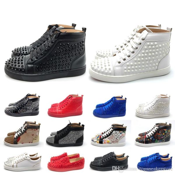2019 designer de luxe bas rouge clouté pointes hommes femmes chaussures de sport baskets initiales baskets noir rouge blanc cuir bottes