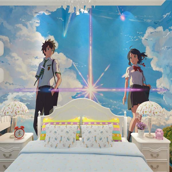 Dein Name. Wallpaper Custom Japanischen anime Wandbild Sternenhimmel Galaxy 3D Wallpaper für TV Hintergrund Wand Schlafzimmer Wohnzimmer Art Room Decor