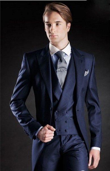 Smoking da sposa blu Abiti aderenti per uomo Suit da sposo tre pezzi Abiti da cerimonia economici (giacca + pantaloni + vest + cravatta) NO: 961