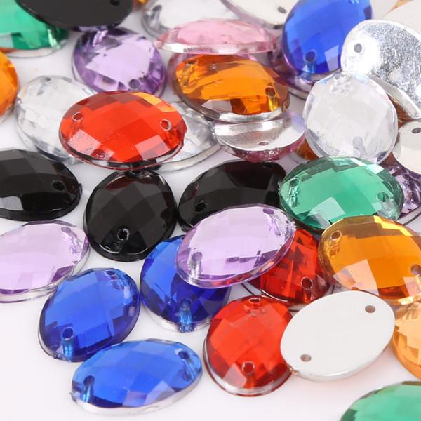 Cucire Flatback Strass 10 * 14mm Perle Acriliche Sew On Strass Pietre di Cristallo Per I Vestiti Decorazione FAI DA TE 300 PZ
