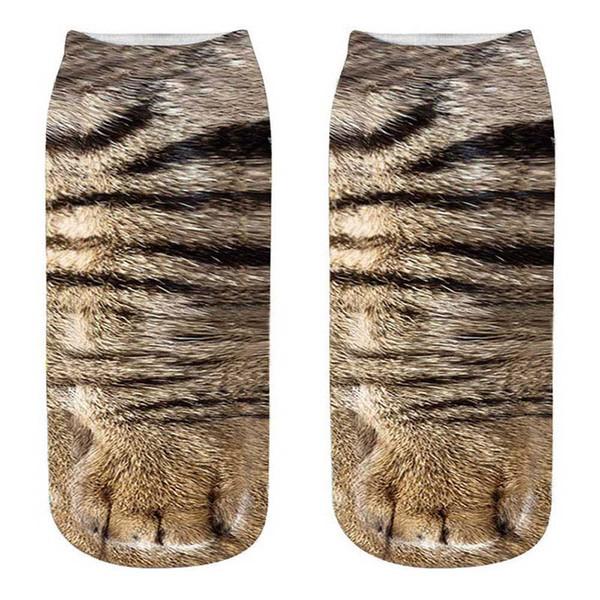 Mulheres Moda 3D Animais Gato Impressão Meias Zebra Padrão Kawaii Meias De Algodão Curtas Natal Bonito Tigre Baixo Corte Tornozelo