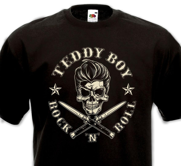 Tee Shirt Teddy Boy Rock'n'roll Flying Saucers Crazy Cavan Matchbox Riot Rockers Men T Shirt Free Shipping Top Tees 2018 Newest