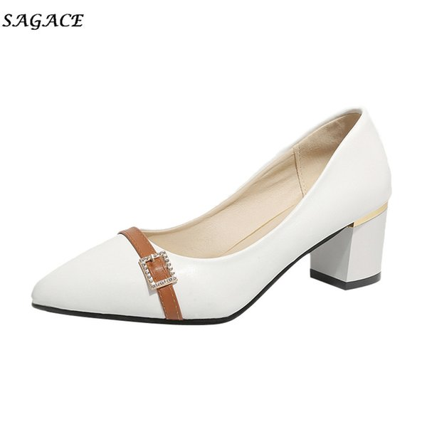 Dress Shoes Sagace Woman 2019 Zapatos Mujer Summer Autumn Lady Pumps High Heels Sexy Pointed Toe Square Heel Wedding Party