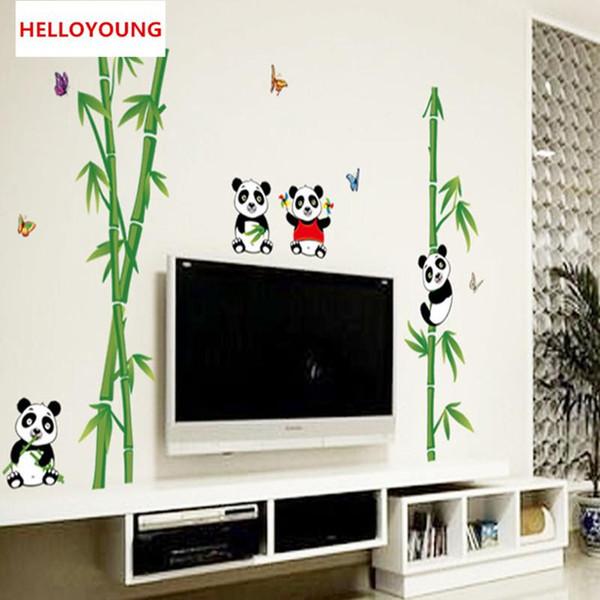 DIY Wall Sticker Cute Cartoon Panda Bamboo Wallpapers Mural Waterproof Bedroom Wall Stickers Home Decor Backdrop