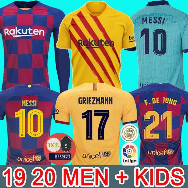 Maglia da calcio FC BARCELLONA 19 20 futbol camisetas ANSU FATI 2019 2020 Messi GRIEZMANN DE JONG Maglie da calcio uomo kit per bambini