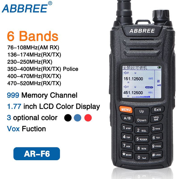 best selling ABBREE AR-F6 6 Bands Dual Display Dual Standby 999CH Multi-functional VOX DTMF SOS LCD Color Display Walkie Talkie Ham Radio